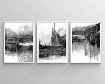 Black & White Contemporary Art, Set of 3 Prints, Abstract Painting, Urban Wall Art, Abstract Triptych, Minimalist Art, Digital Download