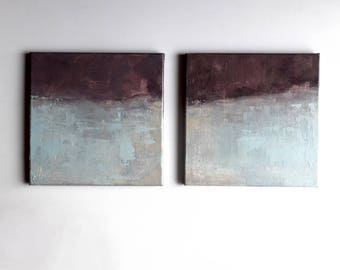 Set of 2, minimalism abstract, contemporary art, landscape abstract, diptych landscape, light blue ivory purple, original oil on canvas