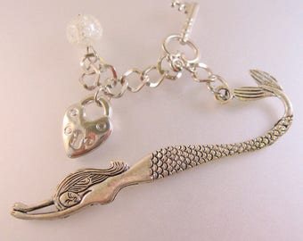 Mermaid Padlock & Skeleton Key Hand Made Personalized Book Mark w/Clear Colored Glass Bead