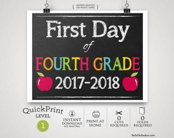 50% OFF SALE - Printable First Day of Fourth Grade Sign, First Day of School Sign, Instant Download, Print at Home, No Waiting