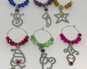 Set of 6 Christmas / Holiday themed  glass charms