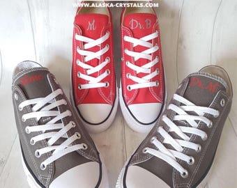 Custom converse, wedding converse, his and hers converse, matching converse, Personalized Converse, Converse Swarovski,  bling converse