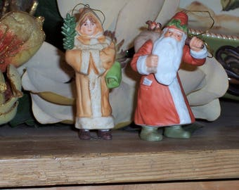 Two Vintage Hamilton Gifts Legacy Collection Christmas Ornaments Painted Bisque Santa and Tiny Tim Peach Red