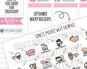 Wacky Holidays - September 2018 Planner Stickers (2018 - W09)