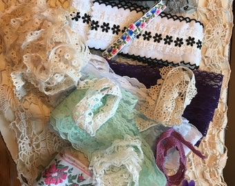 Lace, Vintage Lace, multi color lace, shabby chic, ribbon, Crafts, Sewing, rustic lace, Shabby chic, cottage style, ribbons, lace style, art
