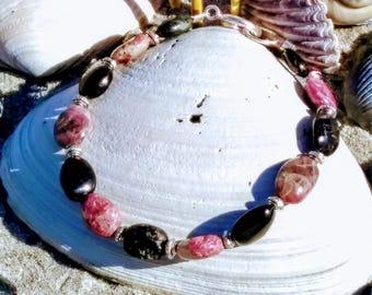 Purple Pink and Dark Green Tourmaline Beaded Bracelet