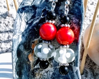 Red Coral Onyx and Lampwork Glass Beaded Dangle Style Earrings