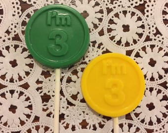 BIRTHDAY CHOCOLATE LOLLIPOPS (12qty) I'm 3 Birthday/3rd Birthday/3 Year Old Party Favors/ #3Birthday Party Favors/Boy Birthday/Girl Birthday