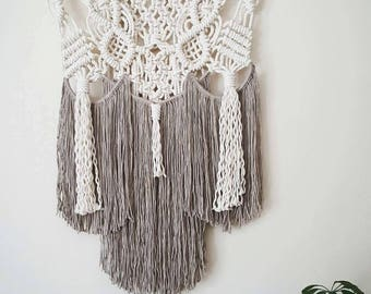 pearl grey accented macramé wall hanging