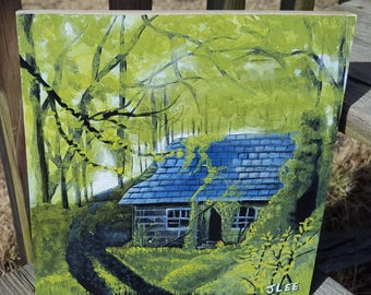 Landscape Painting Country Cottage Cabin Woods House