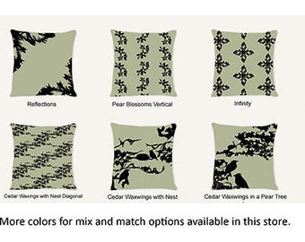 Green - Birds Blossoms Abstract Decorative Indoor Throw Pillow 14x14 - Black and Green (Sage)