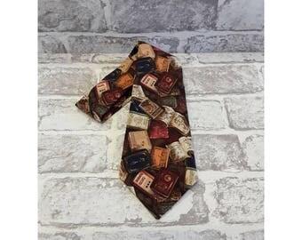 Men's Neck Tie - Men's Antique Books Neck Tie - Cotton Neck Tie