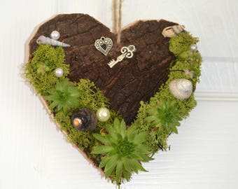 Succulent. moss.shells.wooden hanging heart decoration.