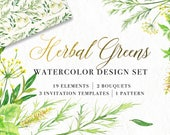 Herbal Greens Watercolor Clipart Set, Handpainted Clip Art, Digital Instant Download PNG, Herbs Leaves Bouquet Wedding Green Watercolour