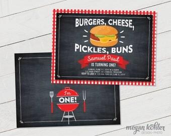 Hamburger BBQ Birthday Invitation - Digital File - Double Sided - Chalkboard