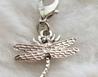 Pewter Dragonfly Charm - Clip-On - Ready to Wear