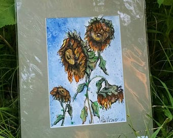 Matted Original Watercolor & Ink Painting of Wilting Sunflowers on Blue