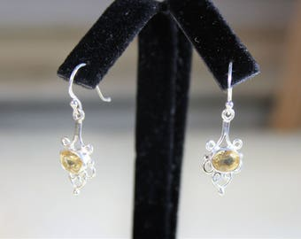 Citrine earrings, drop earrings, sterling silver earrings, dangle earrings, yellow earrings