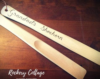 Personalised shoehorn, custom shoe horn, disability aid, arthritis help, wooden shoe horn, grandparent gifts, personalised grandfather gift