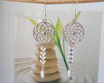 White ear chain earrings