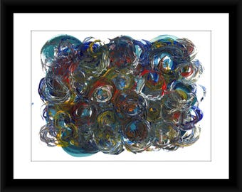 Circles abstract, Colorful circles, Colorful abstract, Blue and Red painting