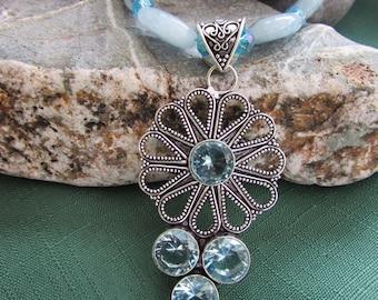 Vintage style Blue Topaz on Aquamarine bead necklace