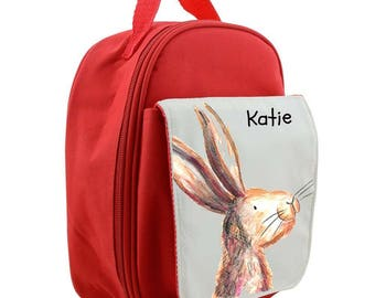 Personalised rabbit childrens lunch bag, lunch box, insulated, cool bag, school bag, kids lunch bag