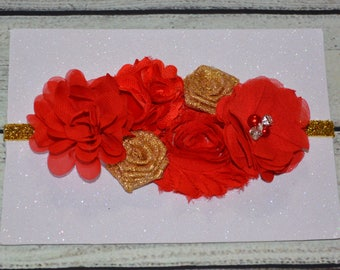 Red And Gold Christmas Baby Headband, Red and Gold Baby Headband ,Christmas headband, Newborn Headband ,Baby Headband ,Red Headband