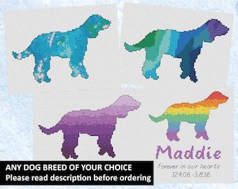 Dog breeds cross stitch pattern, custom dog lover chart, watercolour silhouette, pastel, rainbow bridge, pet memorial, personalised PDF