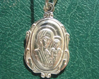 The New Consecrated Russian Orthodox Pendant Icon 925 Sterling Silver of Kazan Mother of God