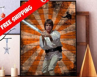 Star Wars Poster, Luke Skywalker Print, Star Wars Art, Luke Skywalker Wall Art Decor, Star Wars Graffiti Wall Art, Kids Room Sci Fi Art