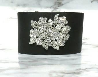 Rhinestone brooch black leather cuff bracelet, floral bracelet, women's leather bracelet, gift for her, cute , shabby,  holiday bracelet