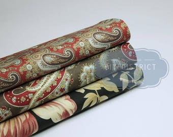 Brown black red American patchwork fabric