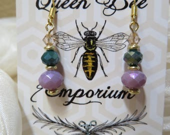 Teal and lavender glass beaded earrings - gold-filled hooks