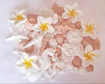 40pcs Big Plumeria Aloha Pearl Seashell Starfish Urshin Seahorse Sea Beach Edible Gumpaste Wedding Cake Edible Decoration Arrangement