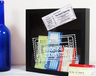 Ticket Collection Box Personalised Ticket Stubs Display Frame - Memory Box