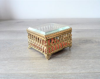 Vintage Gold Filigree Ring Box with Beveled Glass Lid - Hollywood Regency - Glam Jewelry Display Case