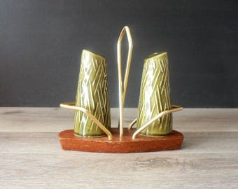 Mid Century Modern Wynware Salt and Pepper Shaker with Stand - Khaki Ceramic and Teak