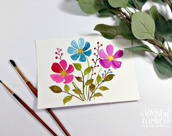Watercolor Florals - Pink, Blue, & Purple with Gold accents