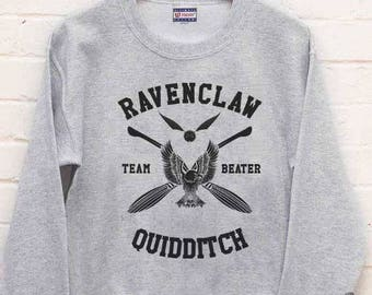 BEATER - Ravenclw Quidditch team Beater printed on Light steel color Crew neck Sweatshirt