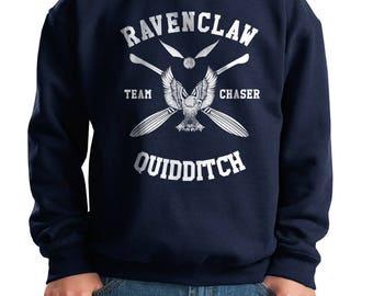 CHASER - Ravenc Quidditch team Chaser White printed on Youth / Kids Crewneck Sweatshirt