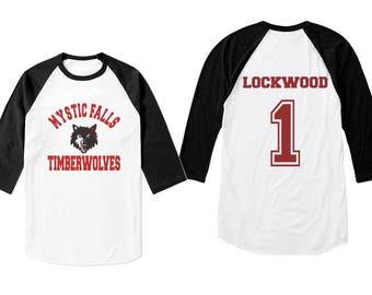 Lockwood 1 Mystic Falls Timber Wolves on 3/4 Sleeve Baseball Raglan Tee T-shirt White - Black