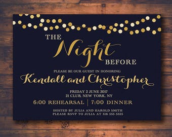 Rehearsal Dinner OR Engagement Party Invitation, Personalized Night Before String Lights Invite, Wedding Digital Downloadable Printable File