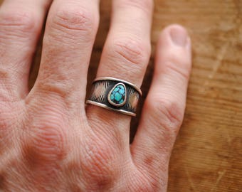 Thick Stamped Turquoise Ring | Size 9