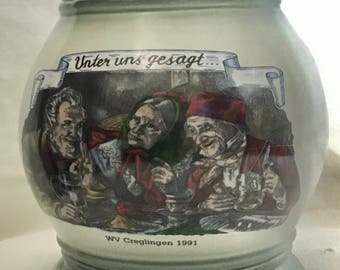 "Old Style German Beer Stein ""Unter uns gesagt"" (between ourselves) 1991"