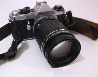Pentax 35mm ME Super Takumar (Bayonet) Lens 1:2.5 135mm & Strap Vintage Pentax  SLR Photography Late 70's Picture Nice Shelf Piece Working