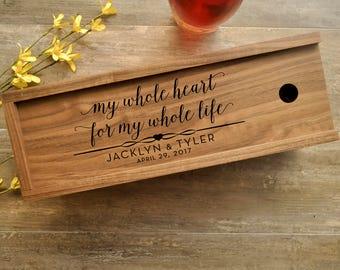 Wine Box, Walnut, Dark Wood, Personalized Wine Box, Solid Wood, Wedding Wine Box, Ceremony Wine, Anniversary Wine Box, Custom Engraved Wine