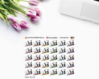 Amanda The Panda ~ WORKING From HOME ~ Time Planner Stickers CAM Panda 058