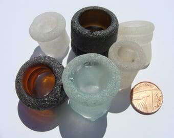 6 English Sea Glass Bottle Tops Necks- Artifacts.