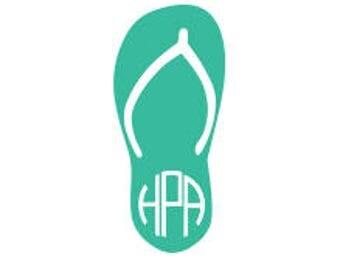 Flip Flop - Flip Flop Decal - Beach Decal - Yeti Decal - Monogram - Flip Flop Decal - Flip Flop Monogram - Flip Flop Sticker - Beach Sticker